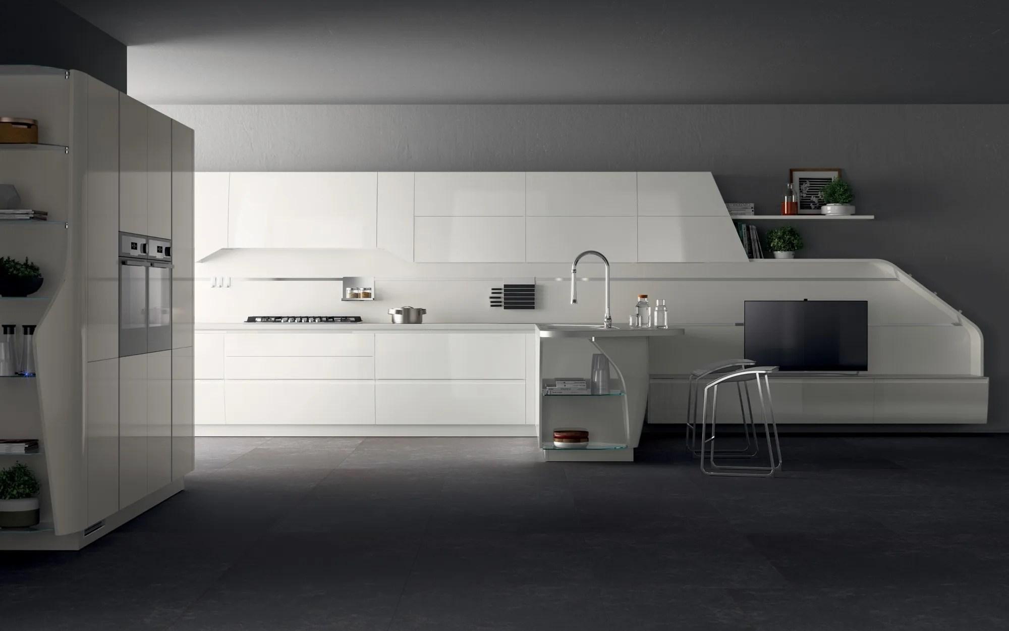 Cucina componibile laccata FLUX SWING Linea Scavolini by Scavolini design Giugiaro Design