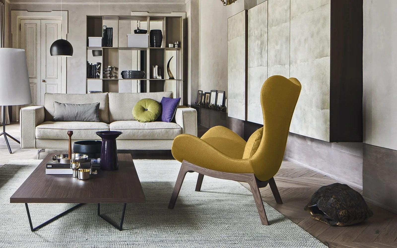 LAZY  Fabric armchair By Calligaris design Michele Menescardi