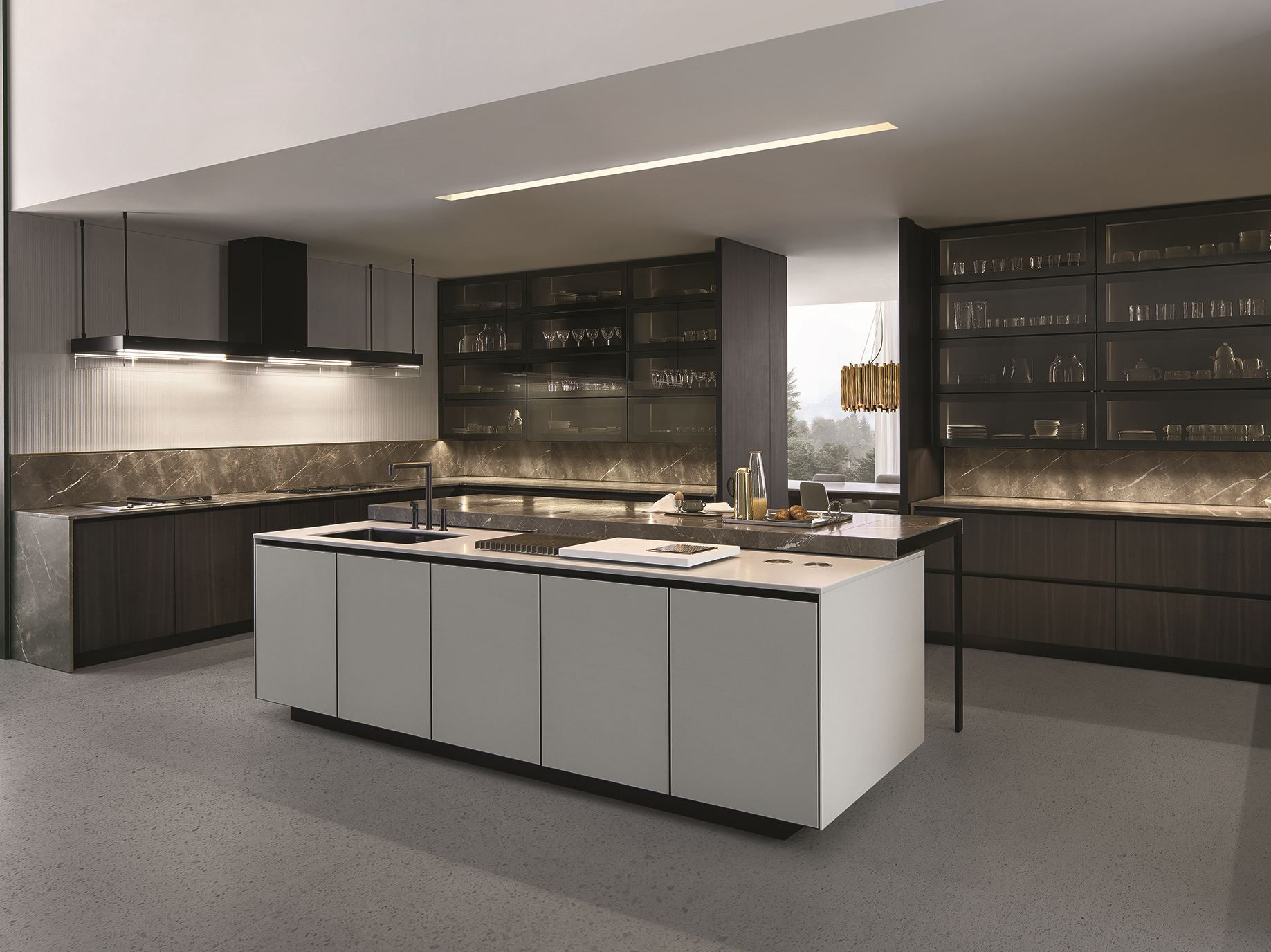 Varenna Cocinas Lacquered Kitchen With Island With Integrated Handles