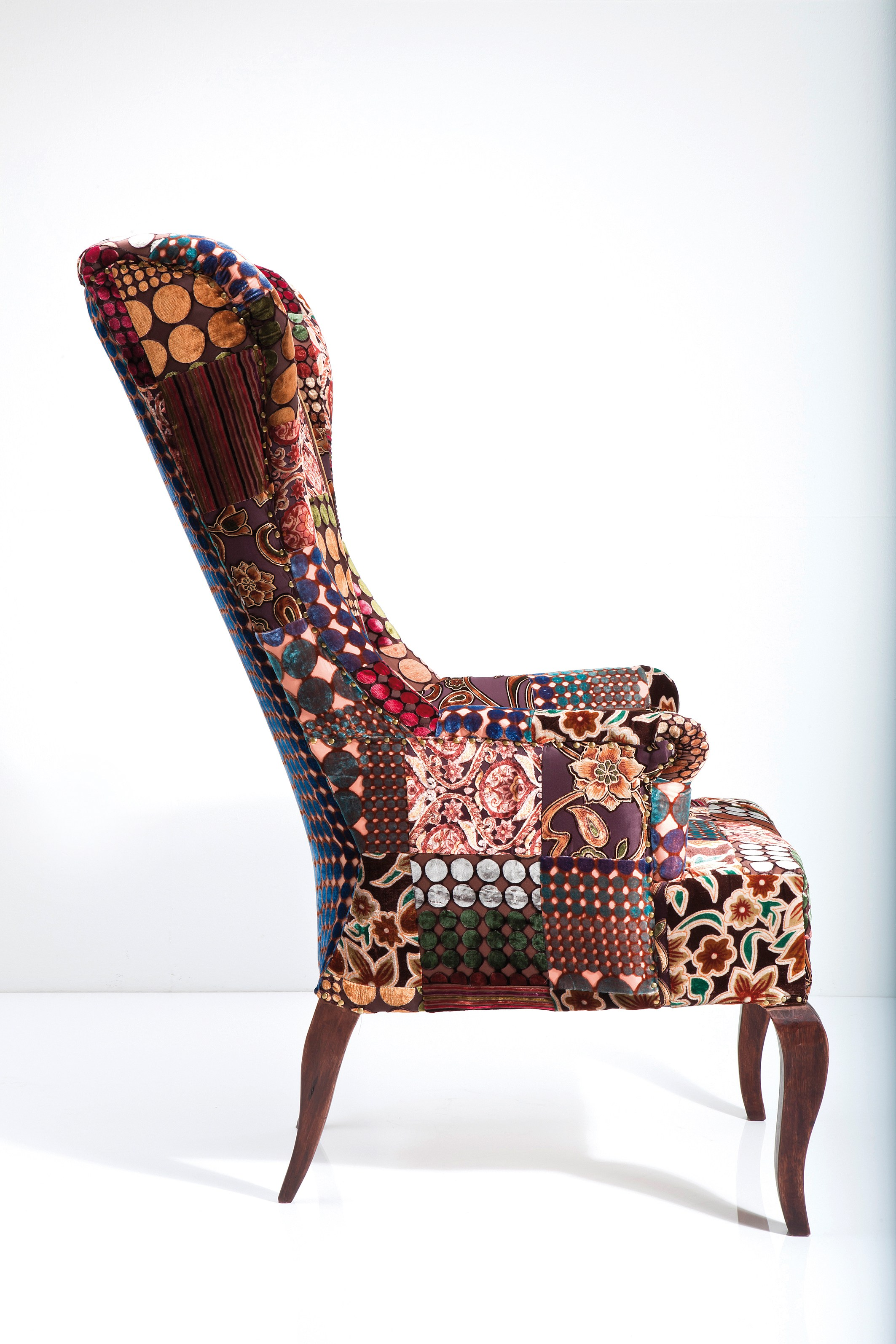 velvet chair design outsunny fishing upholstered high back fabric armchair patchwork by