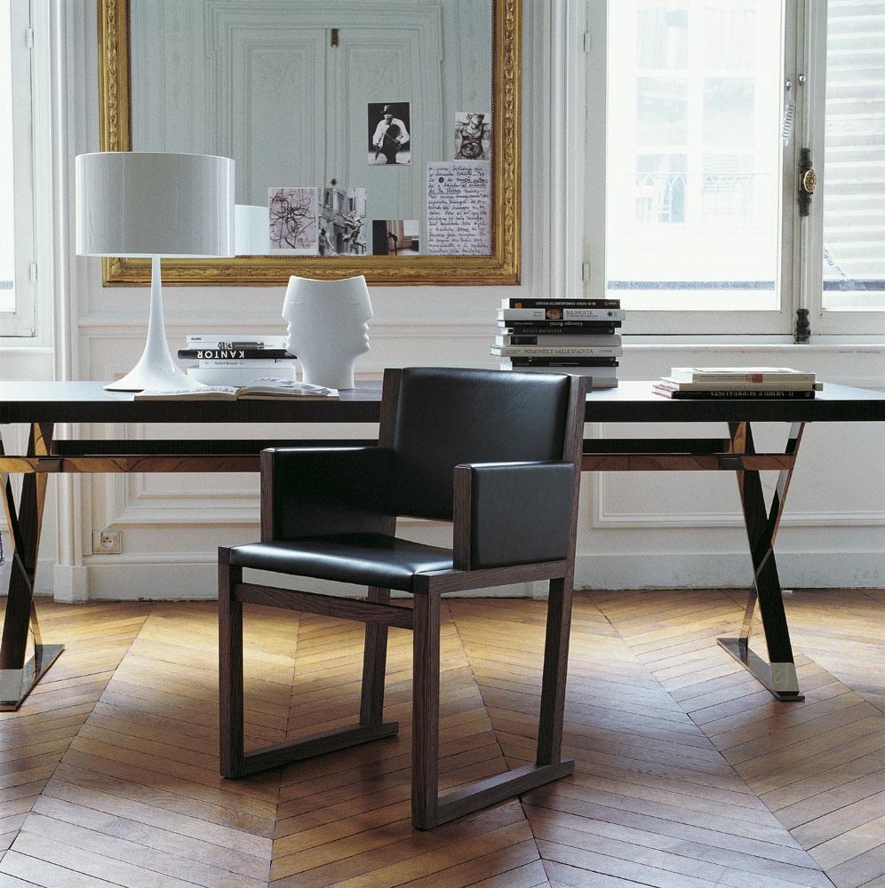 SLED BASE SOLID WOOD CHAIR WITH ARMRESTS MUSA COLLECTION BY MAXALTO A BRAND OF BampB ITALIA SPA