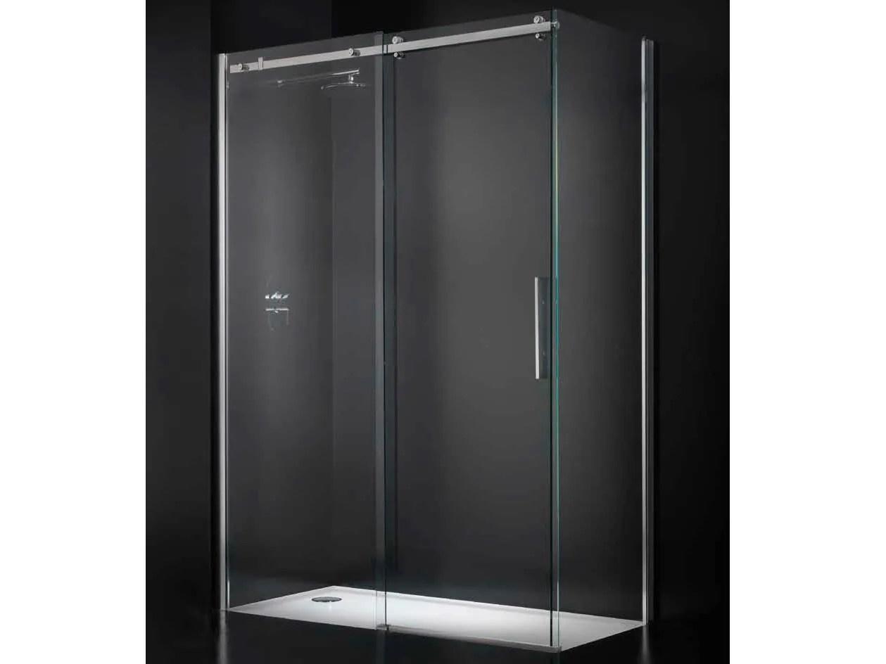 Box doccia angolare in cristallo con porte scorrevoli