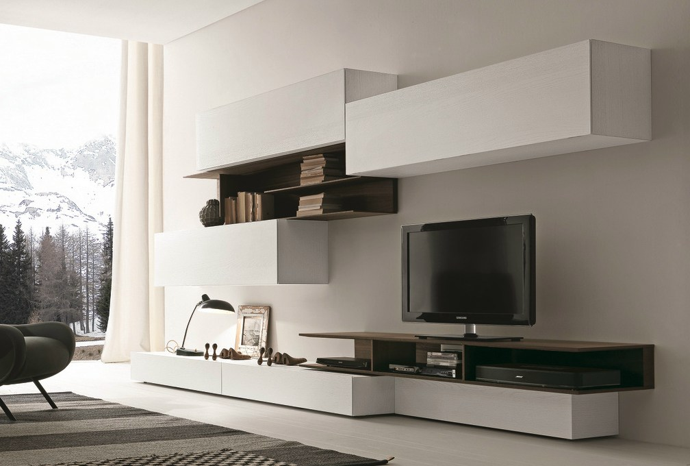 Parete attrezzata componibile fissata a muro con porta tv ImodulArt  270A By Presotto design