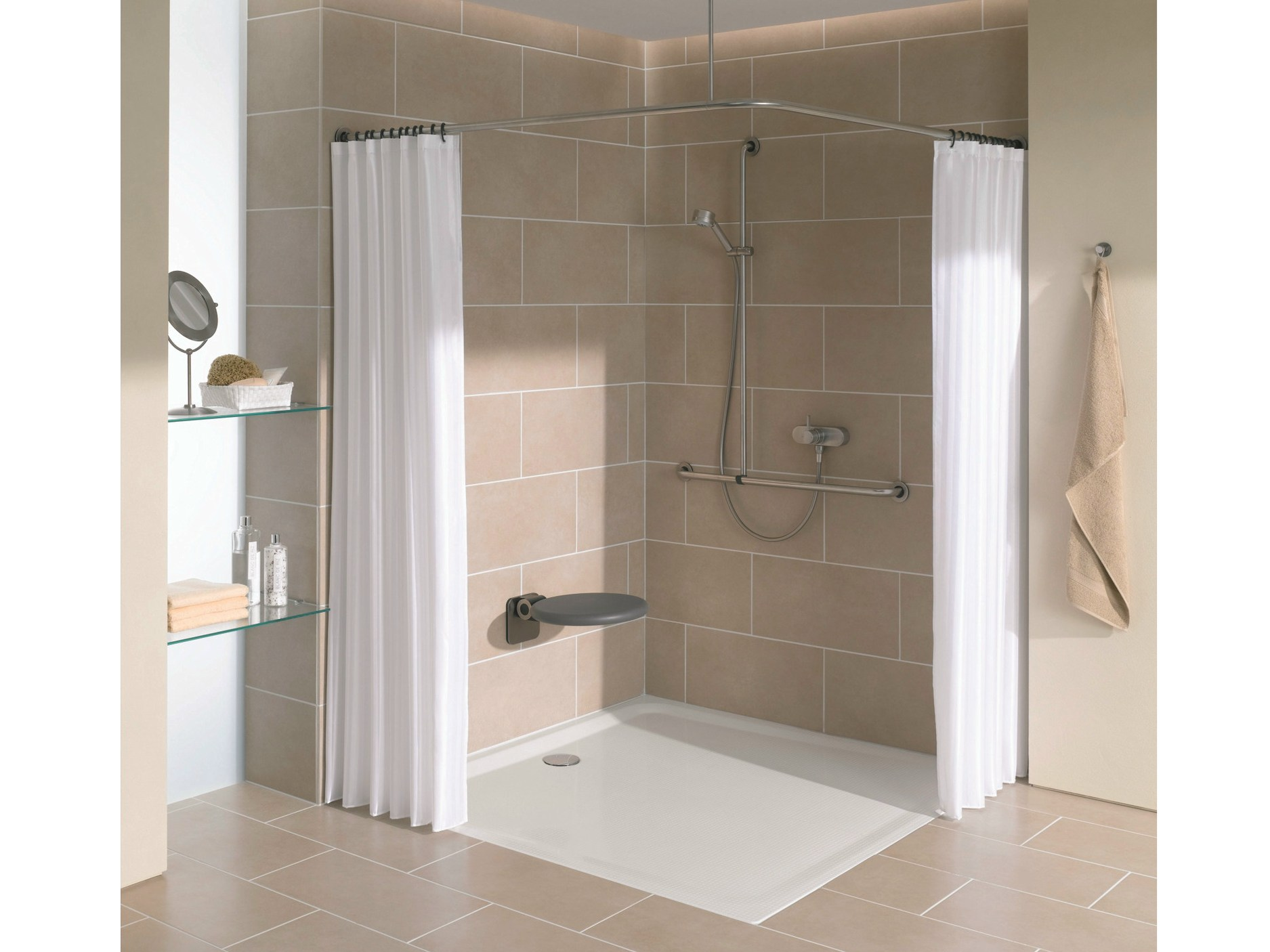 SUPERFLACH Square shower tray by Bette