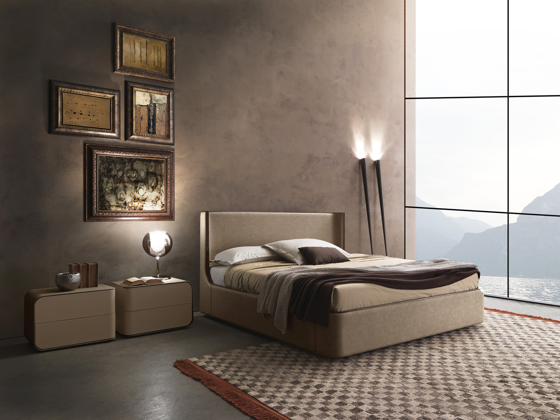 Contemporary style upholstered wooden double bed Callas by