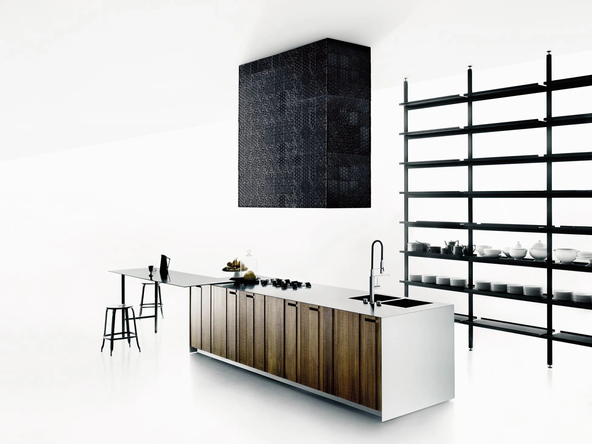 solid wood kitchen island set for girl with aprile by boffi design