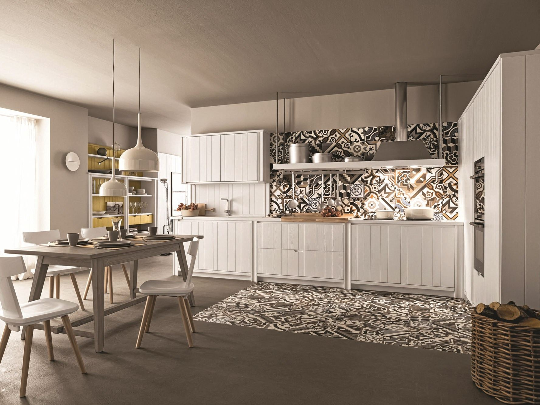 Cucina lineare in abete gesso MAESTRALE 04 by Scandola Mobili