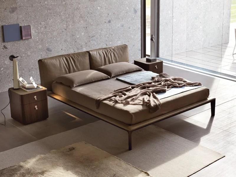 Wooden bed with upholstered headboard JOIN By ALIVAR design Giuseppe Bavuso