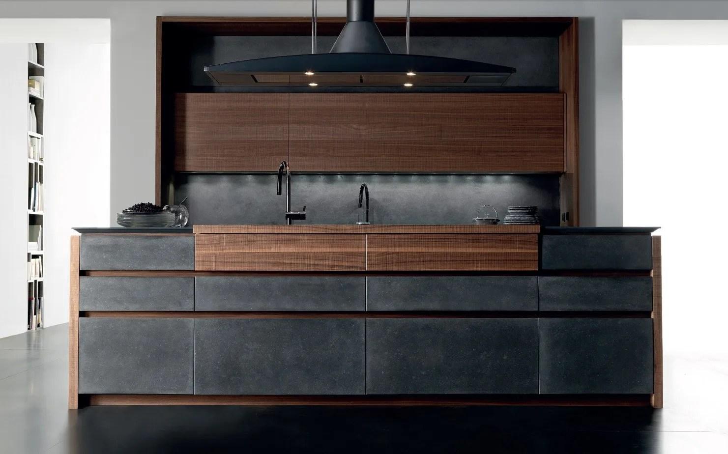 Cucina in cemento con isola WIND CEMENTO ETA NOIR by