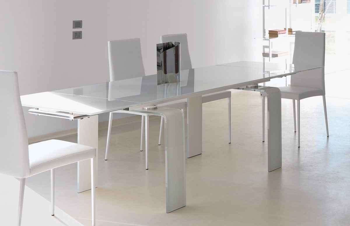 Mesa extensible de comedor rectangular de vidrio de diseo