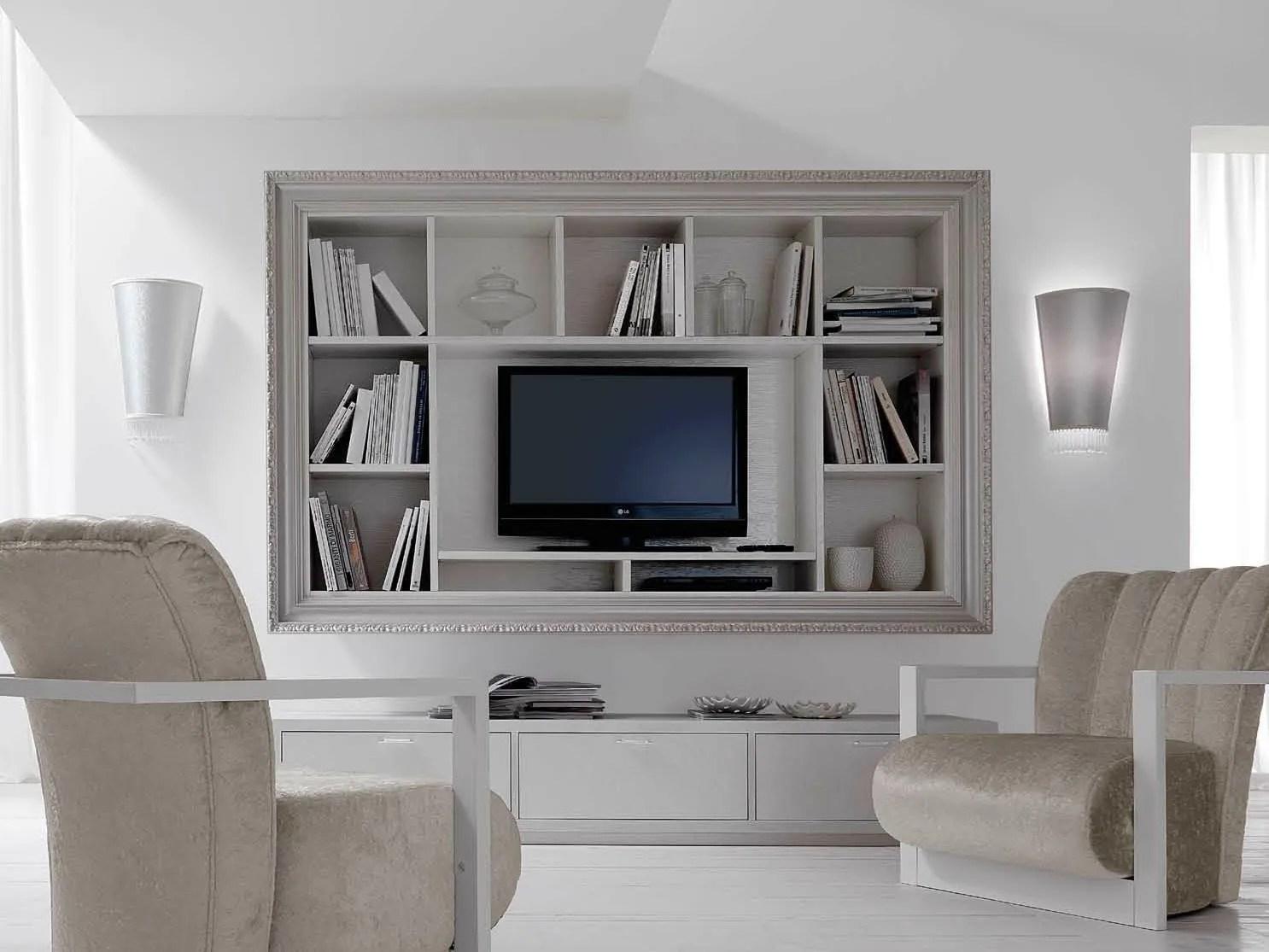 Wallmounted wooden TV cabinet with shelves GRETA By CorteZari