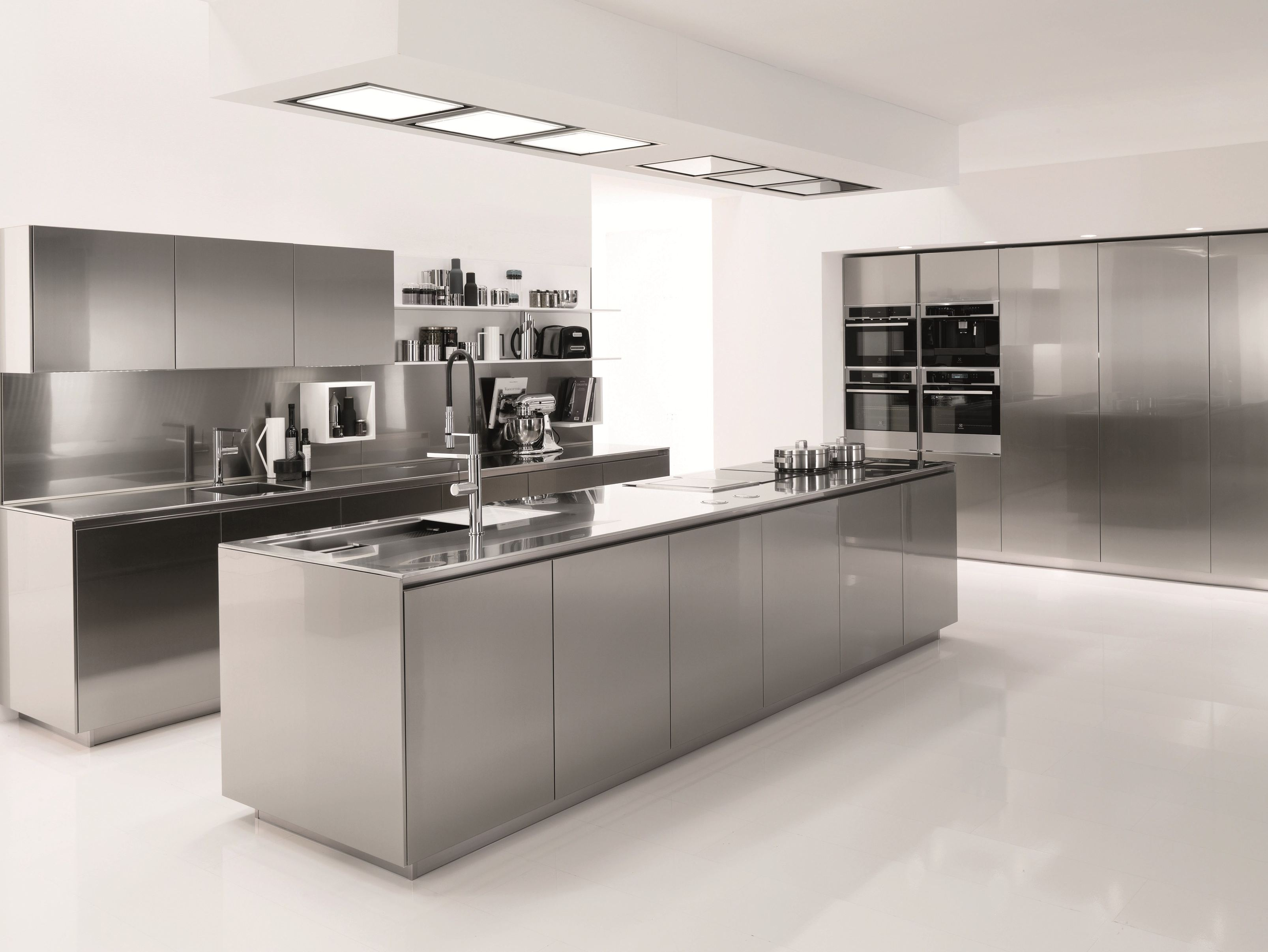 Stainless steel kitchen FILOFREE STEEL by Euromobil design