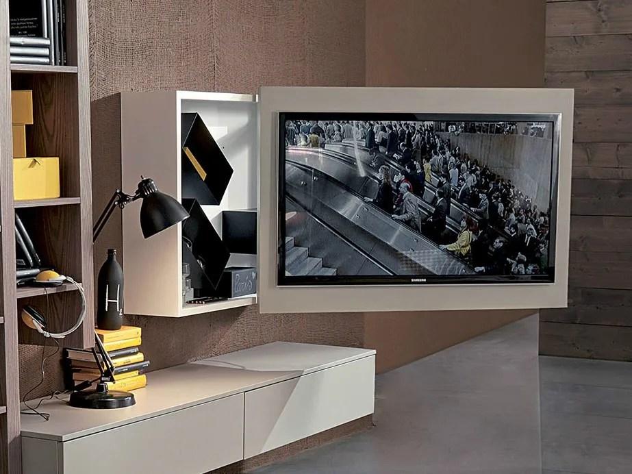 Mobile TV laccato orientabile sospeso RACK BOX by Fimar