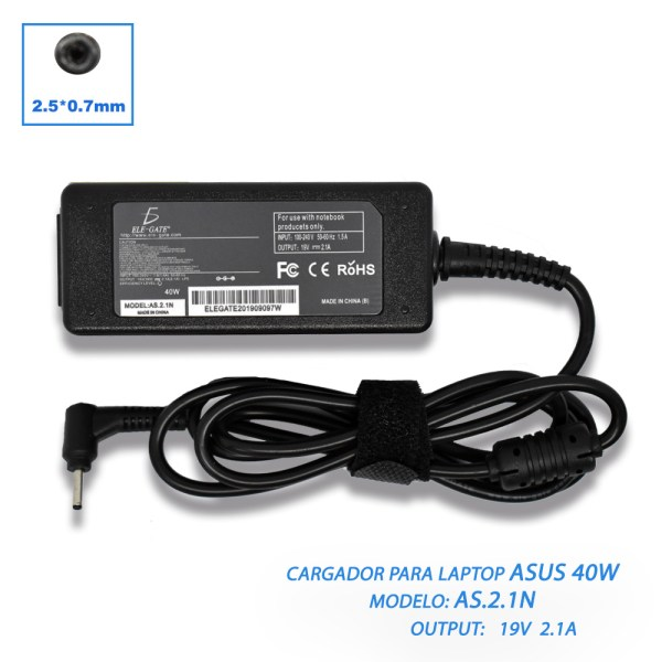 Cargador Laptop Asus Vivobook 19V 2.1a 40W 2.5*0.7mm