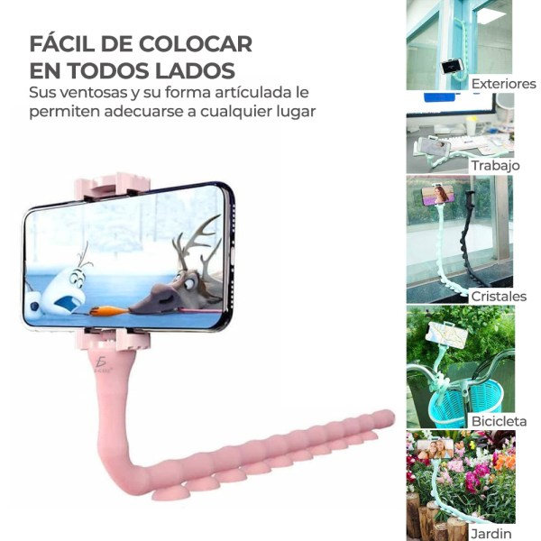Soporte Flexible Para Celular Con Ventosas de Succión en forma de gusanito