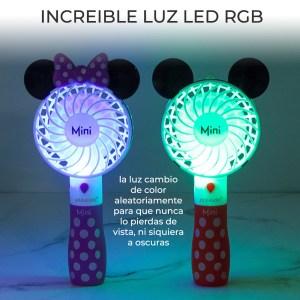 Mini Ventilador Recargable Forma de Mickey Con Luz RGB