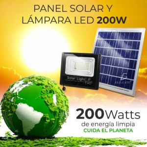 Reflector Led 200w C/ Panel Solar-control Luz Blanca Exterior