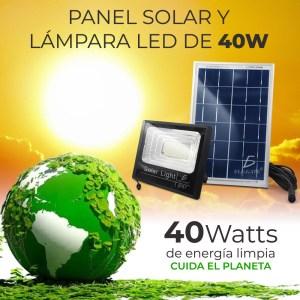 Reflector Led 40w C/ Panel Solar-control Luz Blanca Exterior