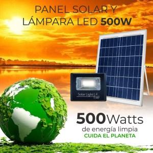 Reflector Led 500w C/ Panel Solar-control Luz Blanca Exterior