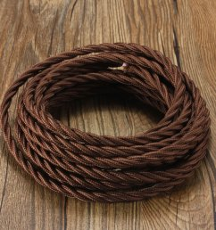 vintage fabric cable elfeland textile cable 5m twisted braided electric rope 3 core wire [ 1200 x 1200 Pixel ]