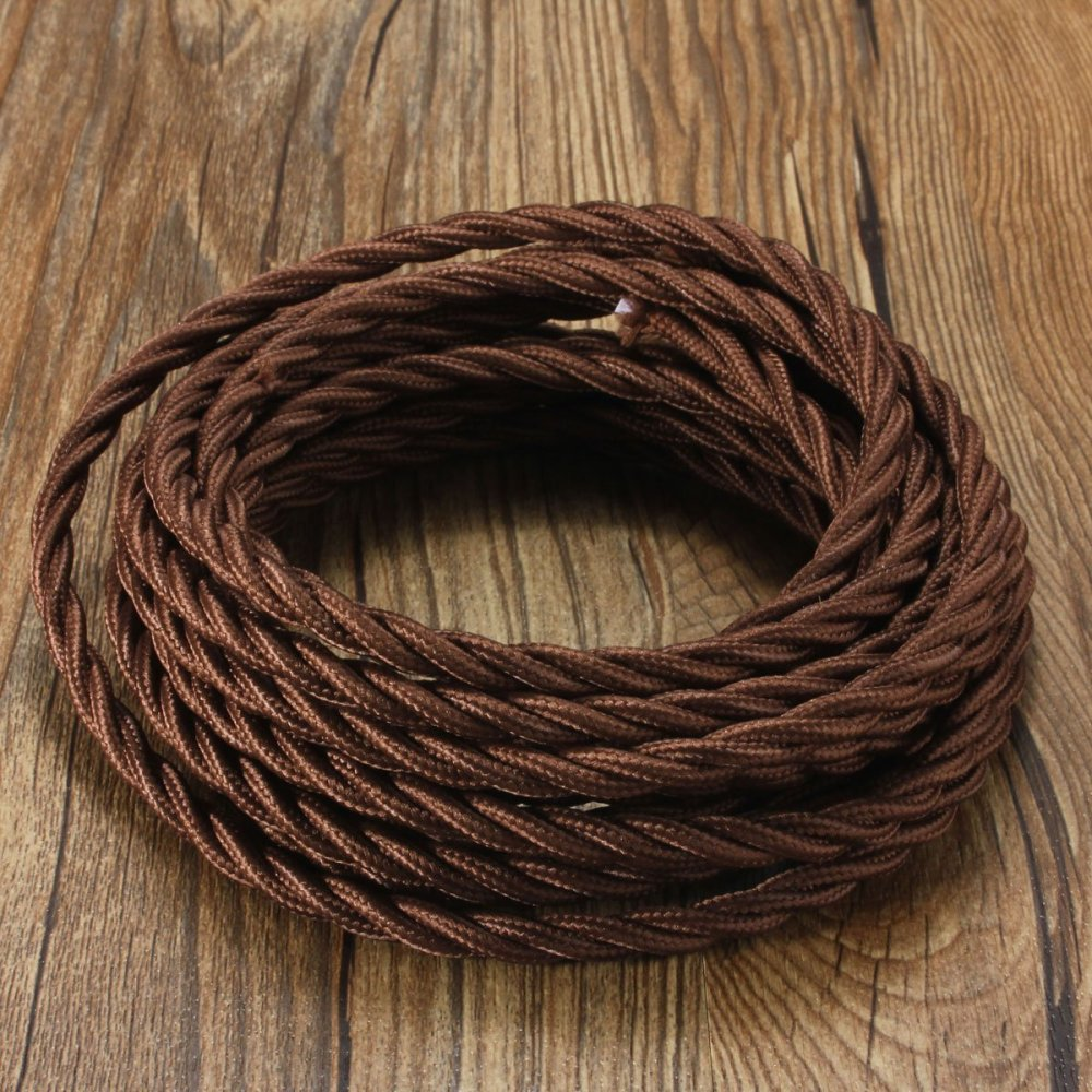 medium resolution of vintage fabric cable elfeland textile cable 5m twisted braided electric rope 3 core wire