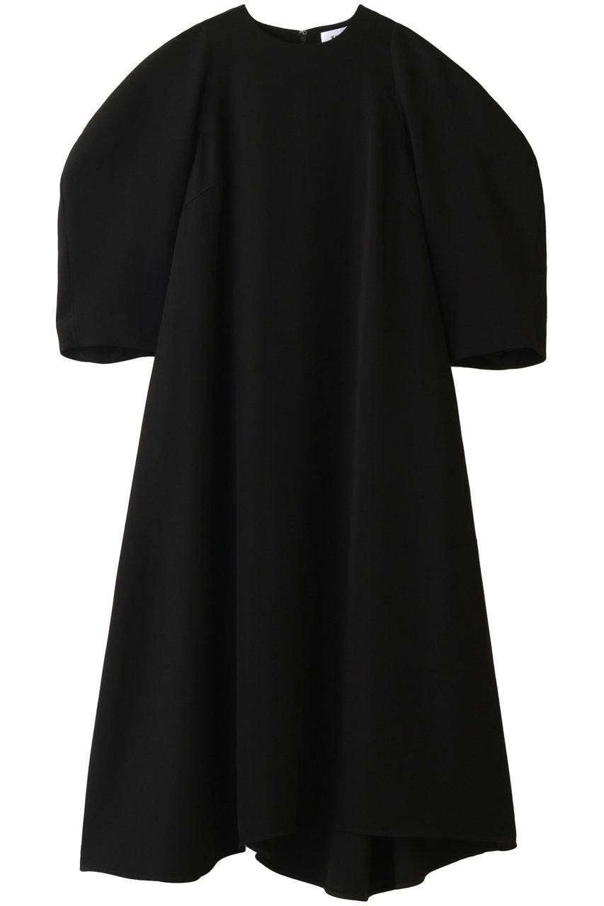 ENFOLD エンフォルド PEツイル アシンメトリーフレア ドレス・ワンピース ブラック
