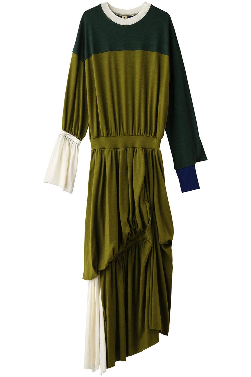 nagonstans ナゴンスタンス Color Block アシンメデザイン ドレス/ワンピース グリーン