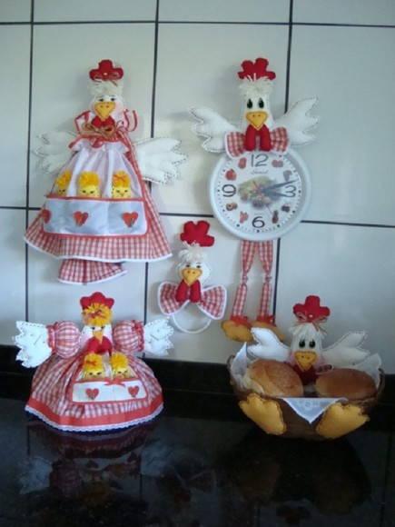 Kit de galinha para decorar cozinha 02 no Elo7  JuArtes