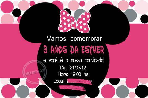 Convite Minnie Rosa no Elo7  Mel Design 25BA15