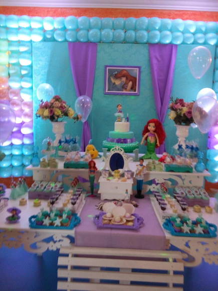 Locao Decorao Pequena Sereia Ariel  Beth Decoraoes