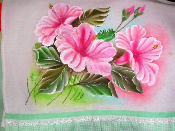Pano de copa hibiscos no Elo7  Arts Bela  Pintura em