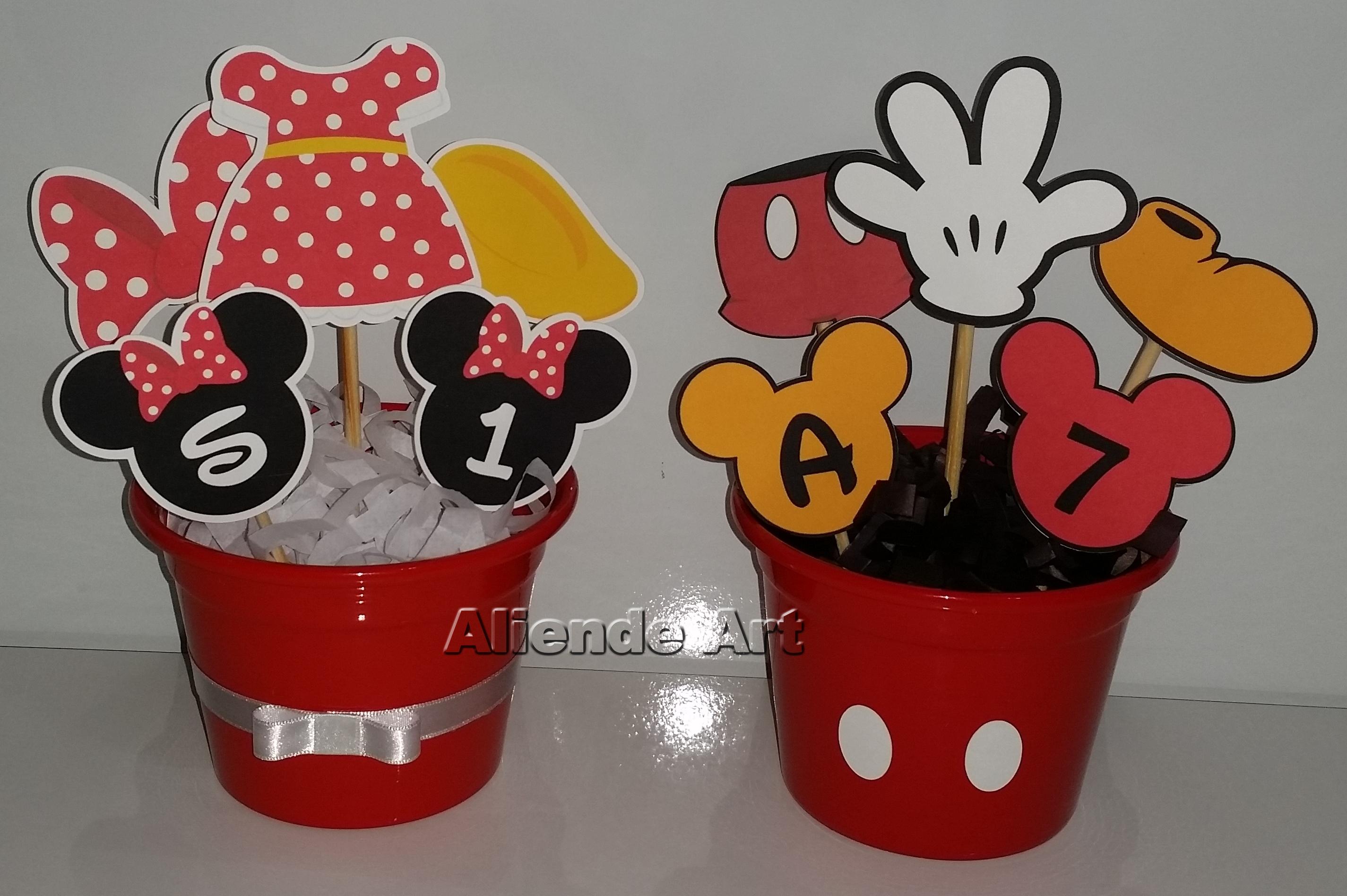 Centro de Mesa Mickey e Minnie  Aliende Art Design  Elo7