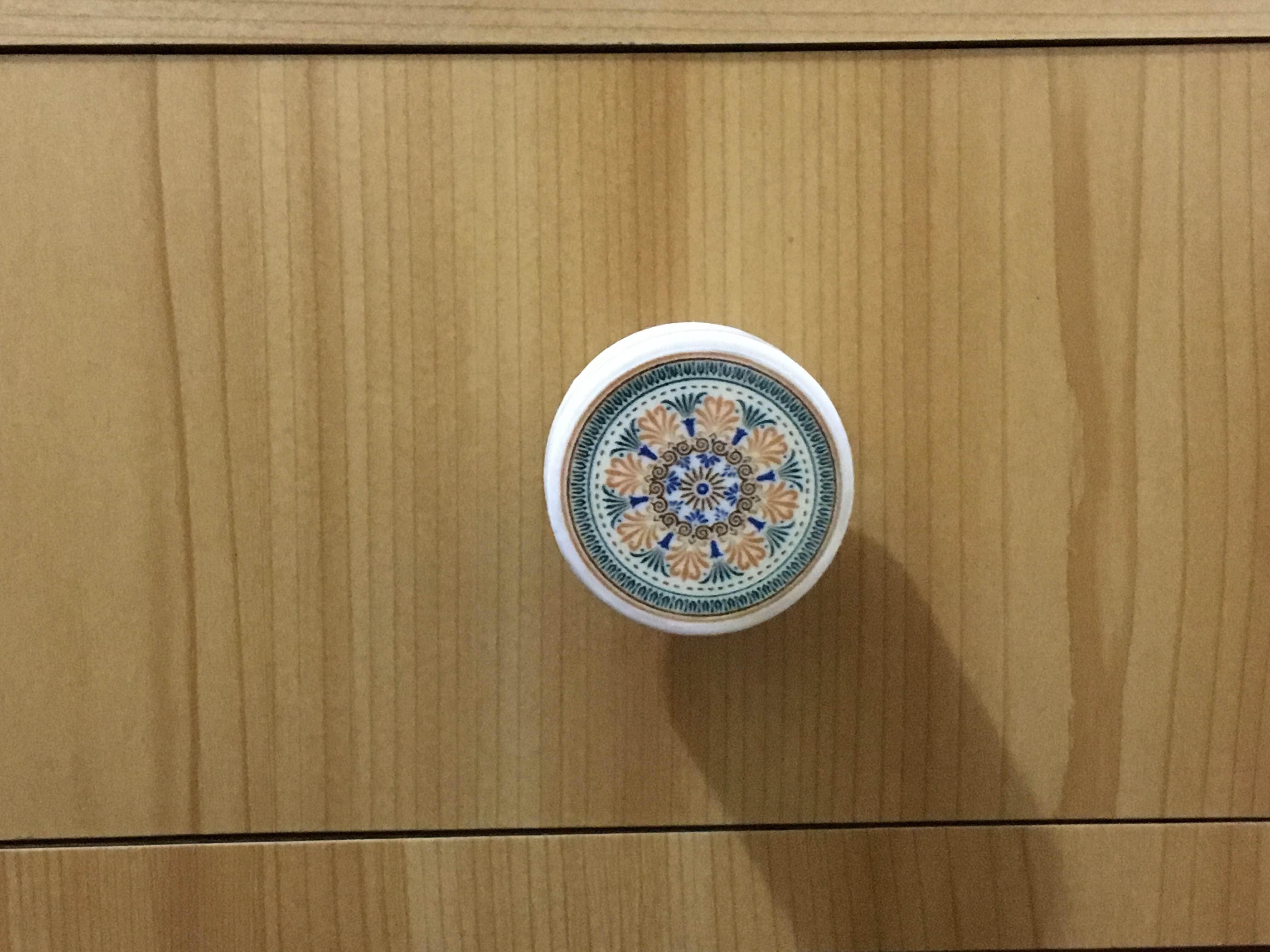 Puxador estilo Porcelana Mandala  Arte Capricho  Elo7