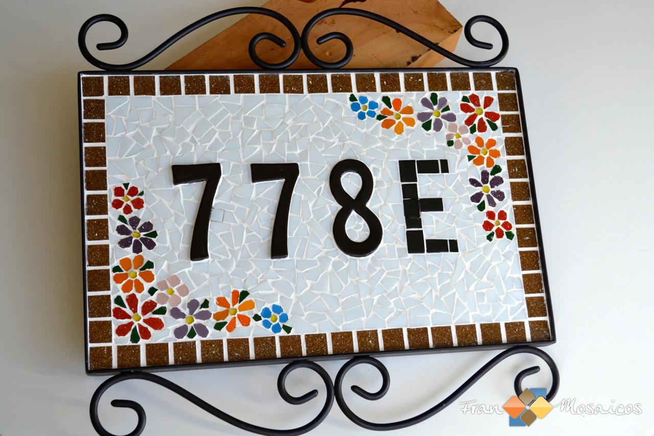 Placa Nmero de Casa Mosaico  Fran Mosaicos  Elo7