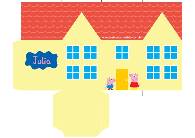 Caixinha Casa da Peppa Pig  Tam Grande  Rabisco Colorido