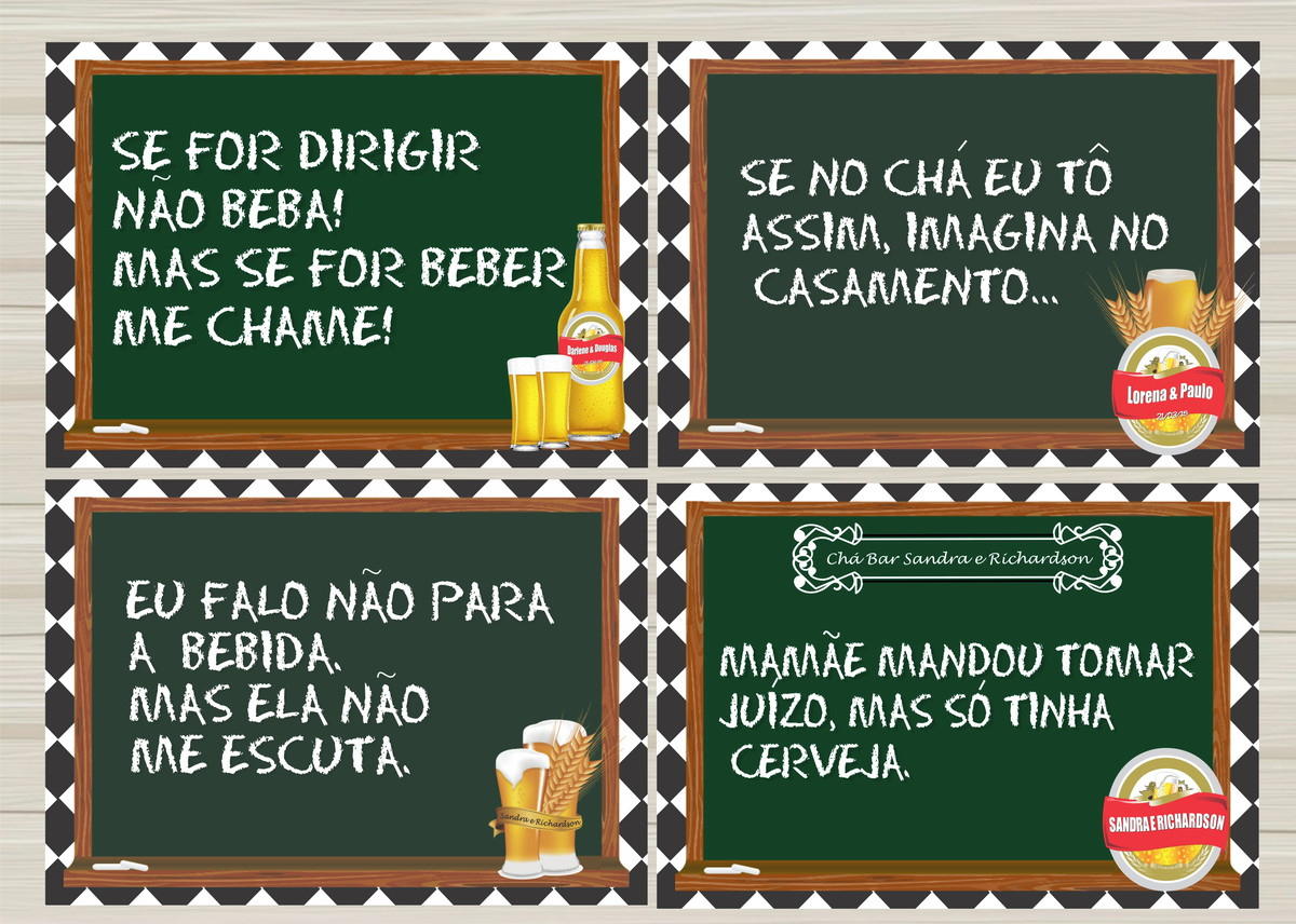 Frases Divertidas para Ch Bar no Elo7  Destefani Ateli