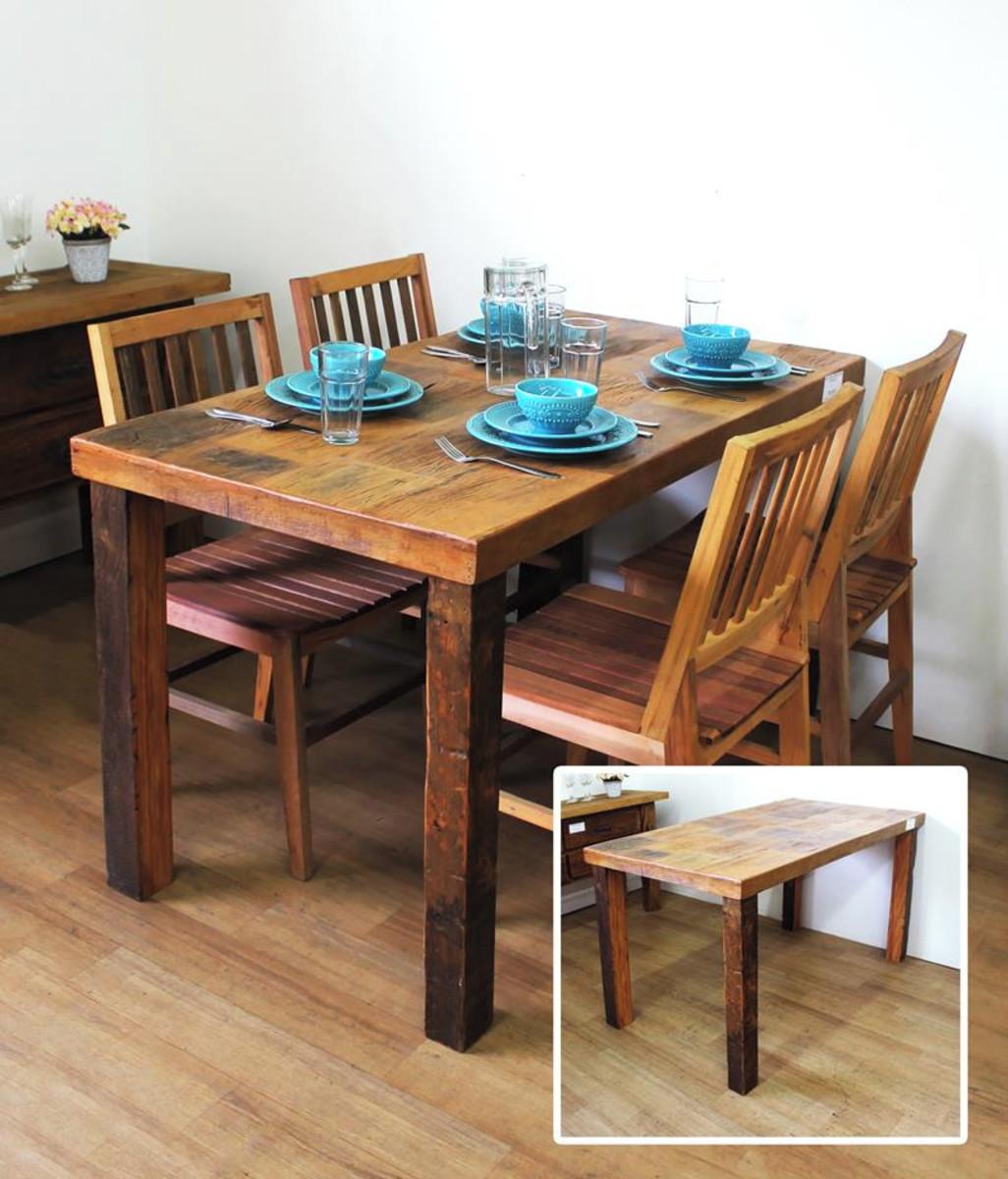 Mesa de Jantar Madeira Demolio com 4 cadeiras no Elo7
