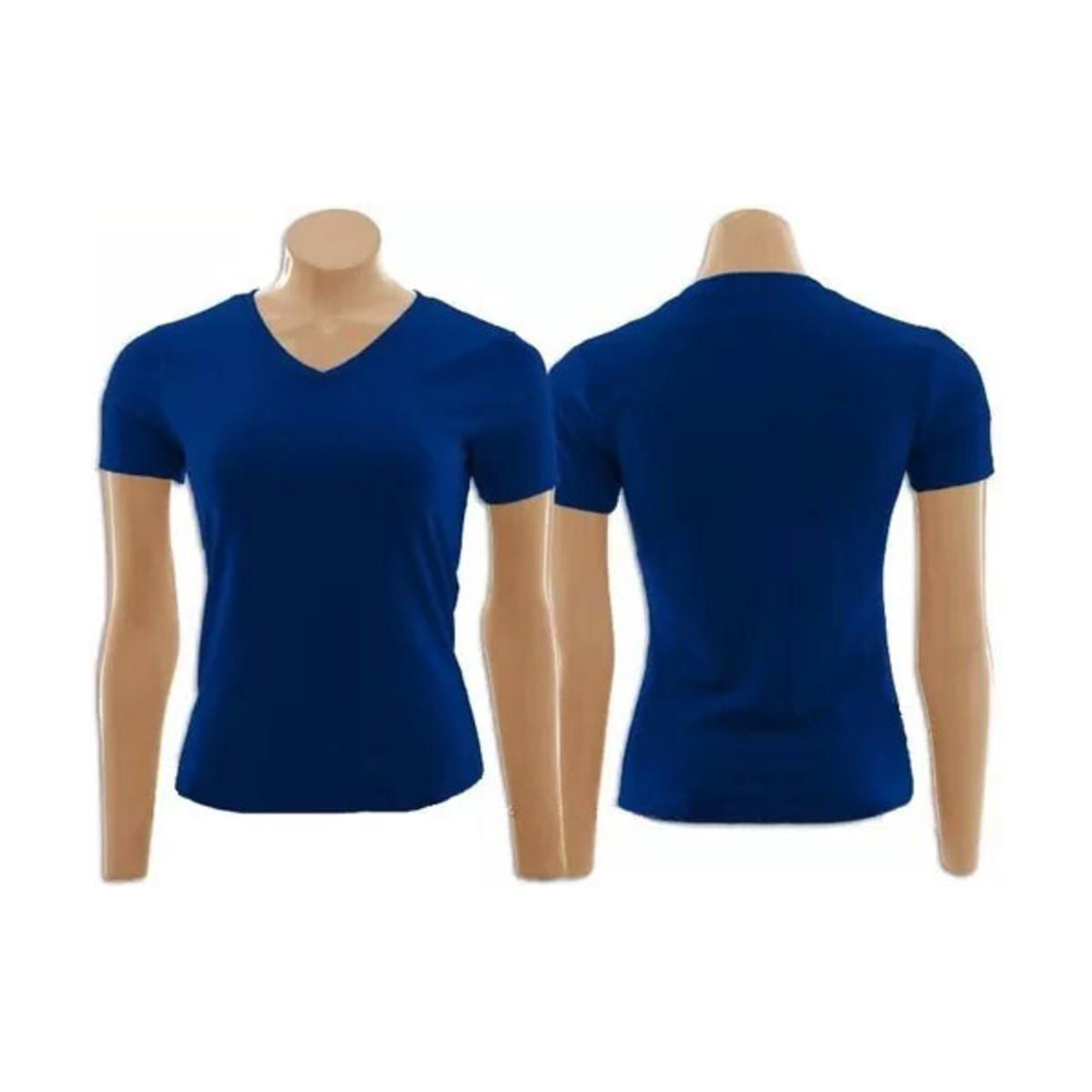 Camiseta Baby Look Gola V Confeccionada Azul Marinho 7976f19fbb567