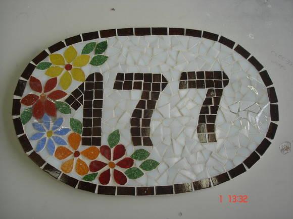 Nmero de casa de mosaico no Elo7  Cia das Artes 54ED9