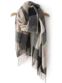 Black Grey Plaid Tassel Classical Scarf EmmaCloth-Women ...