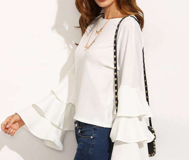 White Round Neck Ruffle Long Sleeve Blouse Pictures