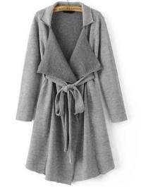 Grey Shawl Collar Long Sweater Coat With Belt EmmaCloth ...