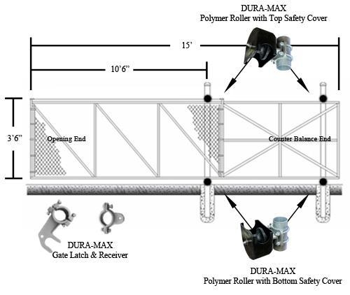 Dura-Max Cantilever Slide Gate Kit 4' x 10' (1.22 m x 3.05
