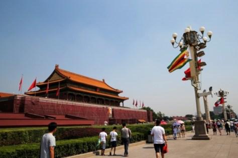 中国北京市中心の天安門。2014年にはさらに改装された(VCG/Getty Images)