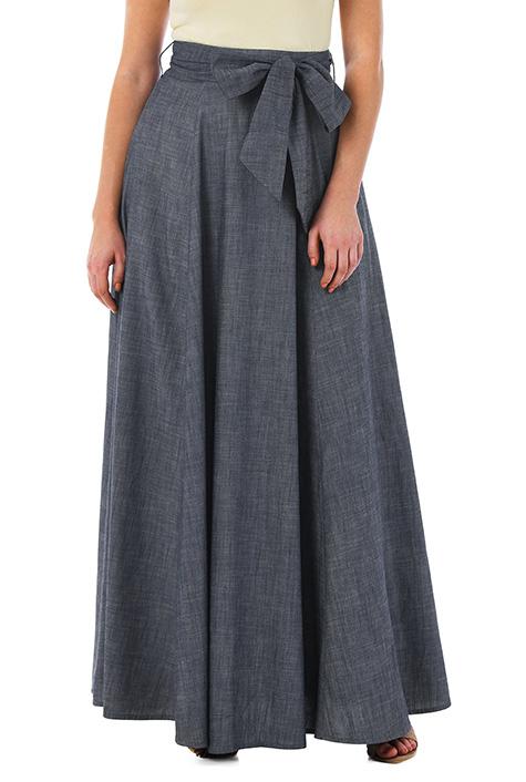 eShakti Women's Sash tie cotton chambray maxi skirt