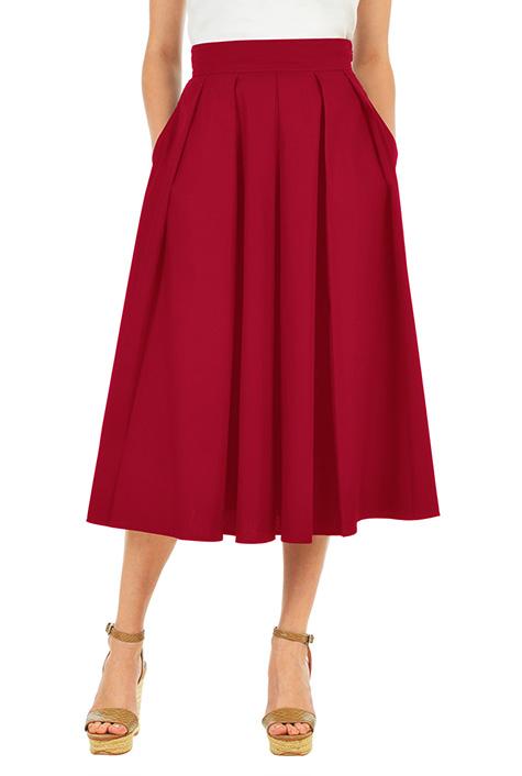 eShakti Women's Pleated stretch cotton poplin midi skirt
