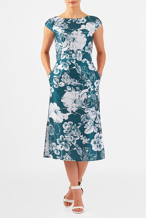 eShakti Women's Floral print dupioni bow belted sheath dress