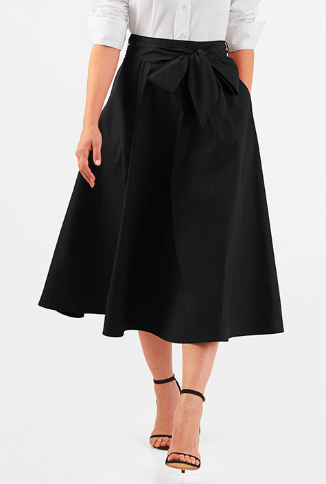 eShakti Women's Sash tie stretch poplin midi skirt