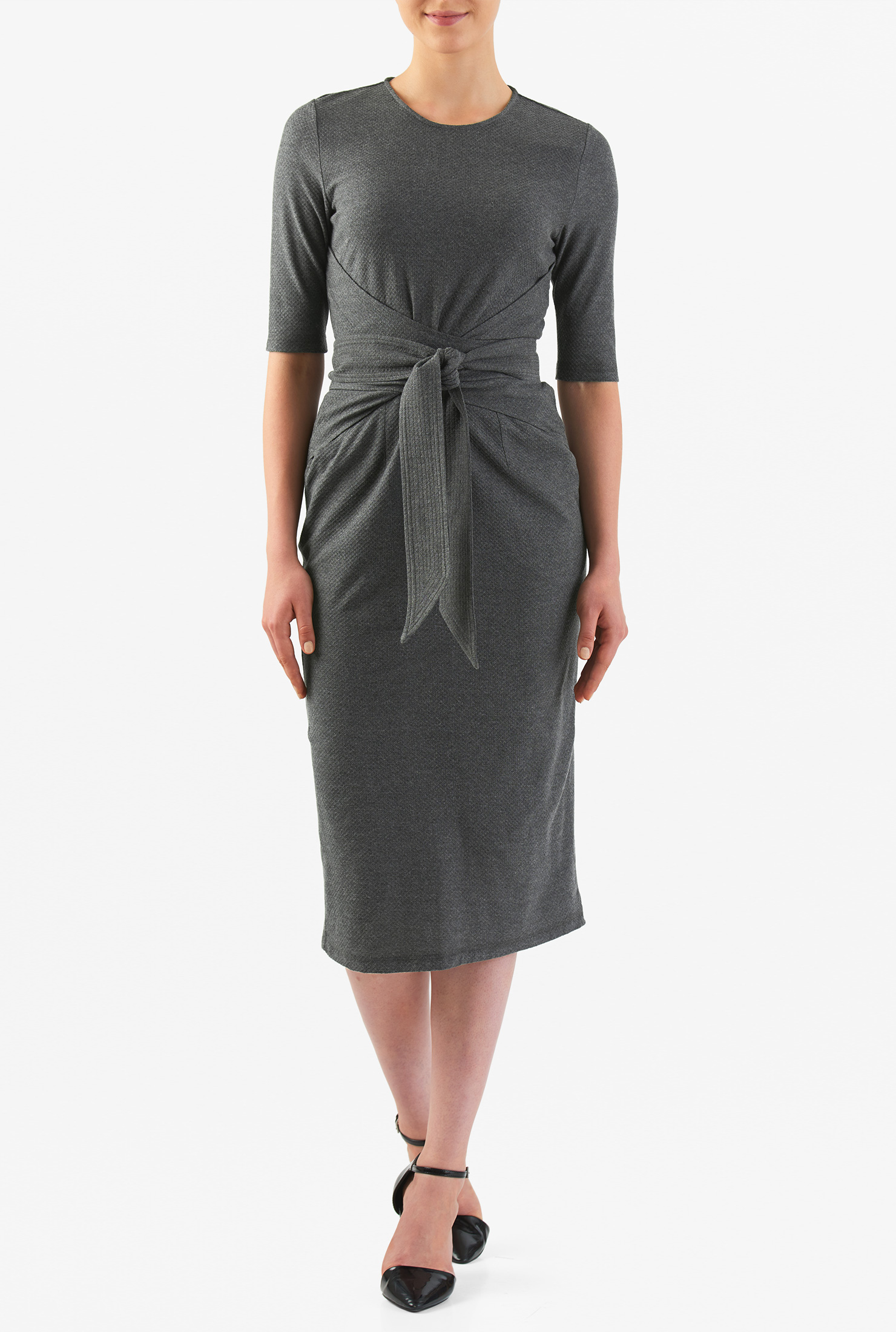 eShakti Women's Obi belt textured cotton knit sheath dress