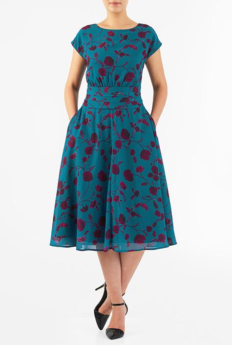 eShakti Women's Floral print pleated empire georgette dress